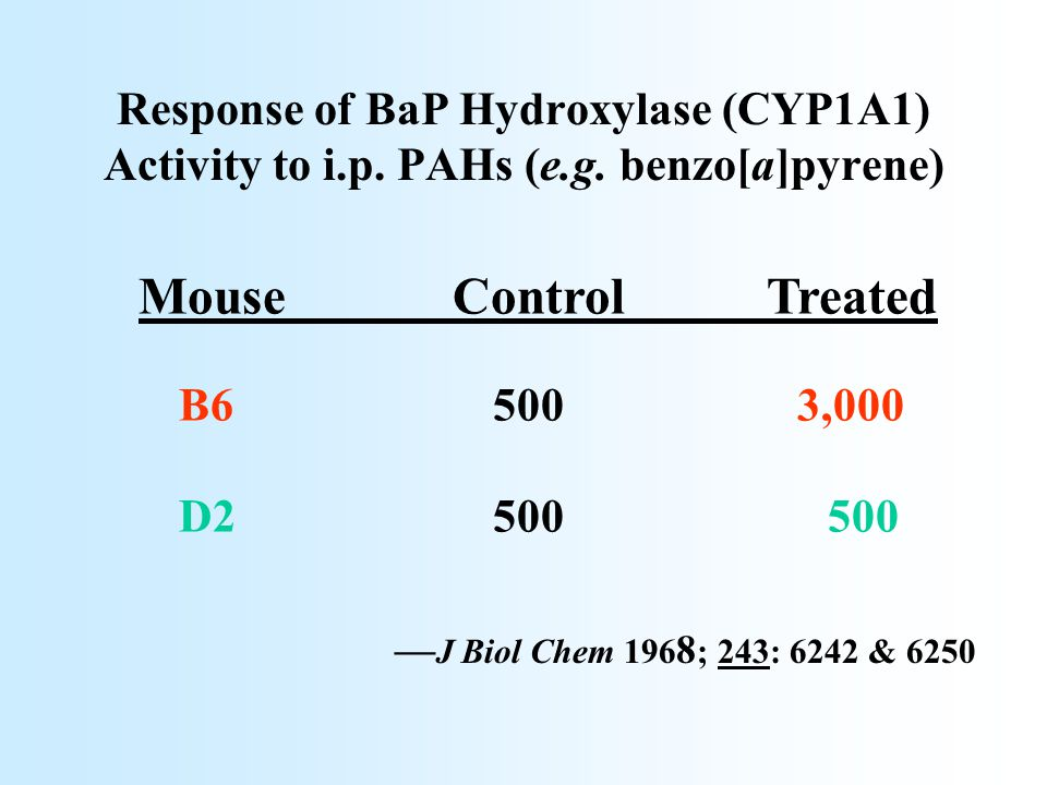 Response of BaP Hydroxylase (CYP1A1) Activity to i.p. PAHs (e.g. benzo[a]pyrene) MouseControlTreated B6 500 3,000 D2 500 500 –– J Biol Chem 196 8 ; 24