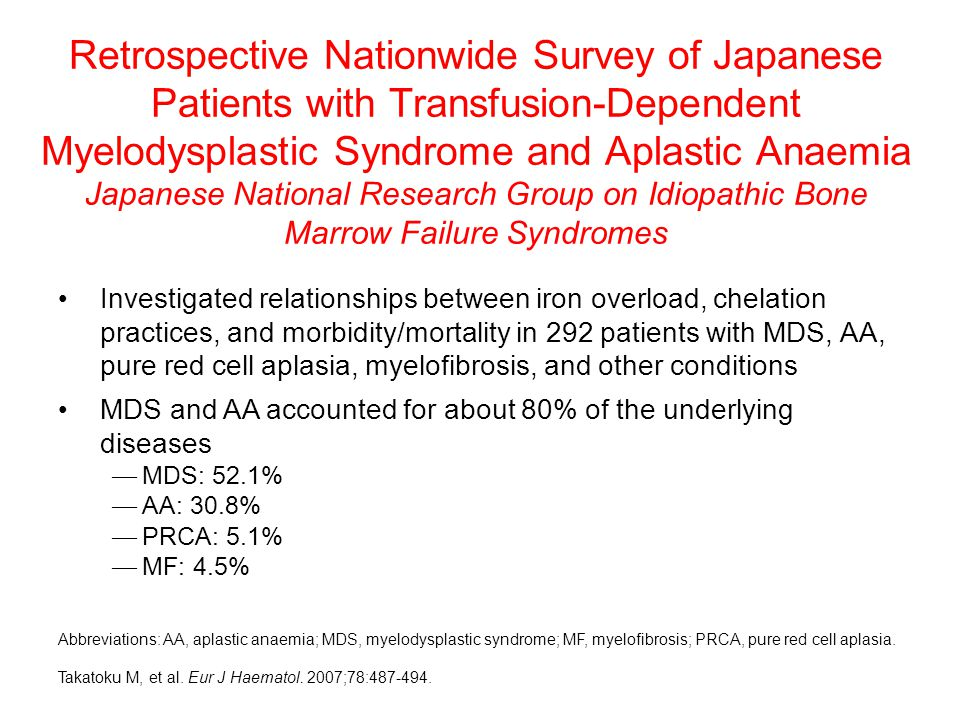 Retrospective Nationwide Survey of Japanese Patients with Transfusion-Dependent Myelodysplastic Syndrome and Aplastic Anaemia Japanese National Research Group on Idiopathic Bone Marrow Failure Syndromes Investigated relationships between iron overload, chelation practices, and morbidity/mortality in 292 patients with MDS, AA, pure red cell aplasia, myelofibrosis, and other conditions MDS and AA accounted for about 80% of the underlying diseases — MDS: 52.1% — AA: 30.8% — PRCA: 5.1% — MF: 4.5% Abbreviations: AA, aplastic anaemia; MDS, myelodysplastic syndrome; MF, myelofibrosis; PRCA, pure red cell aplasia.