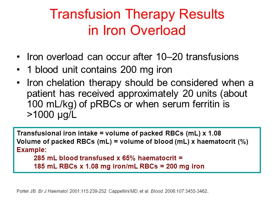 Iron overload can occur after 10–20 transfusions 1 blood unit contains 200 mg iron Iron chelation therapy should be considered when a patient has received approximately 20 units (about 100 mL/kg) of pRBCs or when serum ferritin is >1000 µg/L Transfusion Therapy Results in Iron Overload Porter JB.
