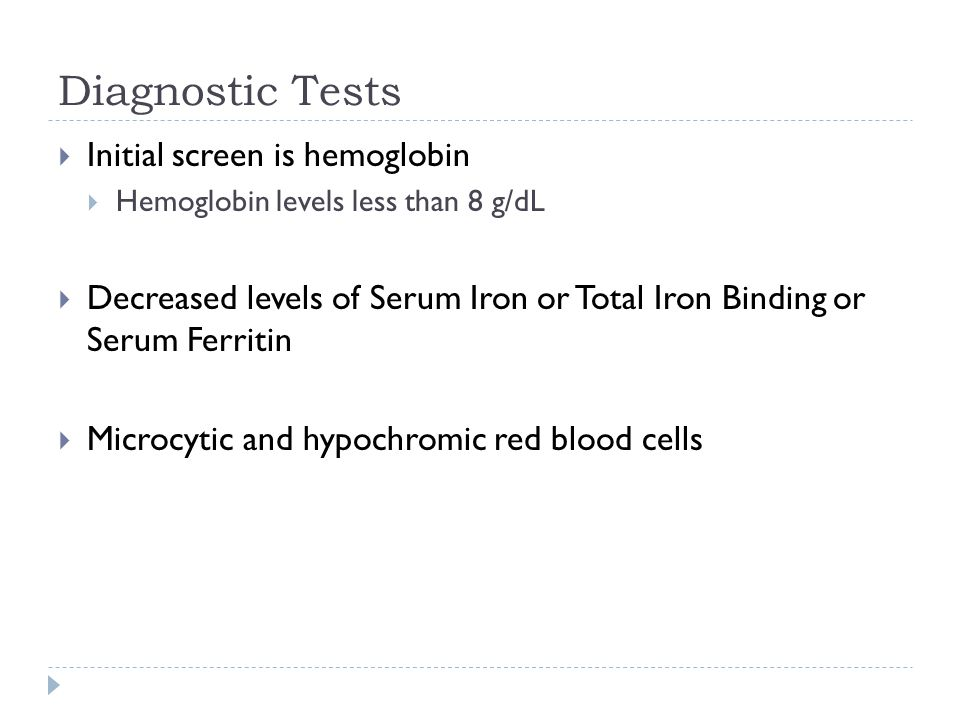 Diagnostic Tests  Initial screen is hemoglobin  Hemoglobin levels less than 8 g/dL  Decreased levels of Serum Iron or Total Iron Binding or Serum Ferritin  Microcytic and hypochromic red blood cells