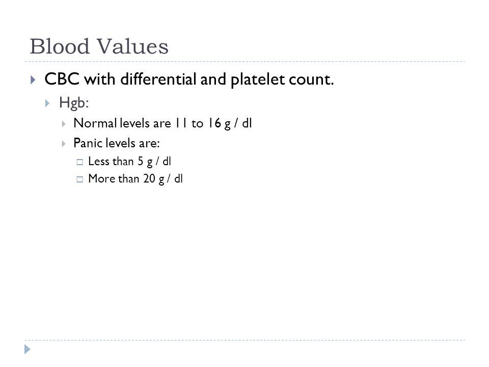 Blood Values  CBC with differential and platelet count.