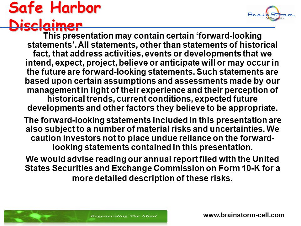 11 Safe Harbor Disclaimer This presentation may contain certain 'forward-looking statements'.