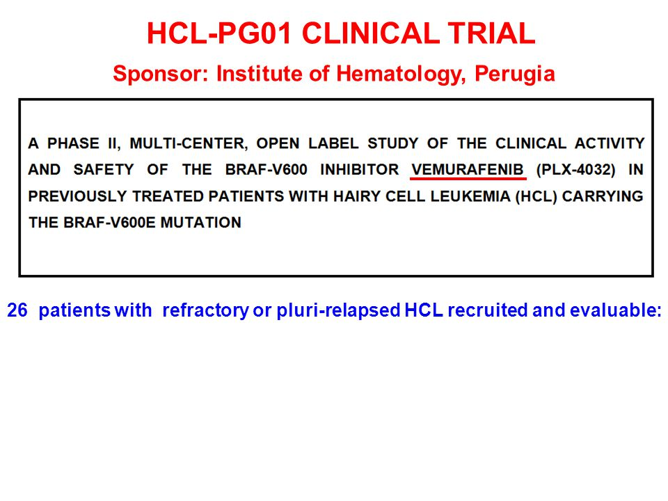 HCL-PG01 CLINICAL TRIAL Sponsor: Institute of Hematology, Perugia 26 patients with refractory or pluri-relapsed HCL recruited and evaluable:
