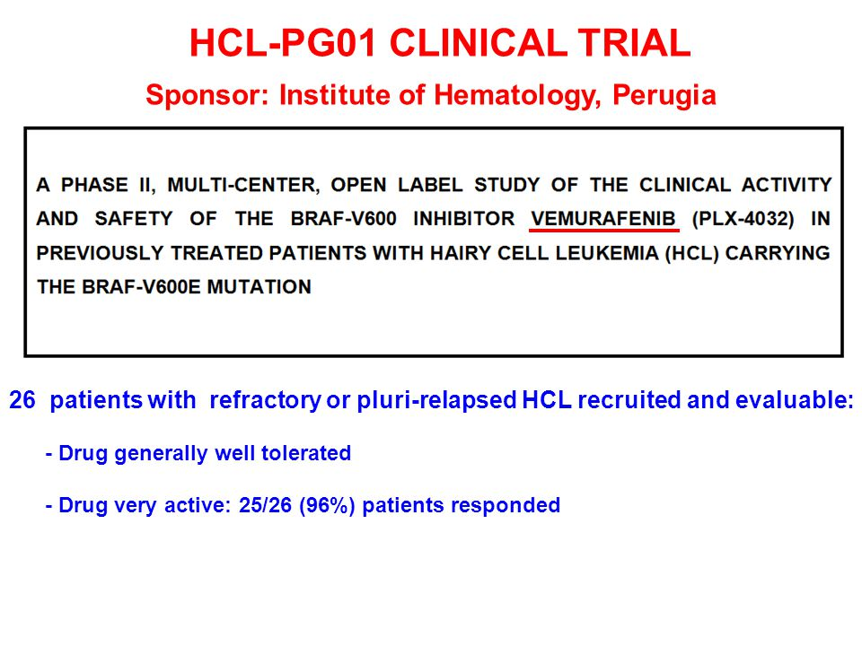 HCL-PG01 CLINICAL TRIAL Sponsor: Institute of Hematology, Perugia 26 patients with refractory or pluri-relapsed HCL recruited and evaluable: - Drug ge