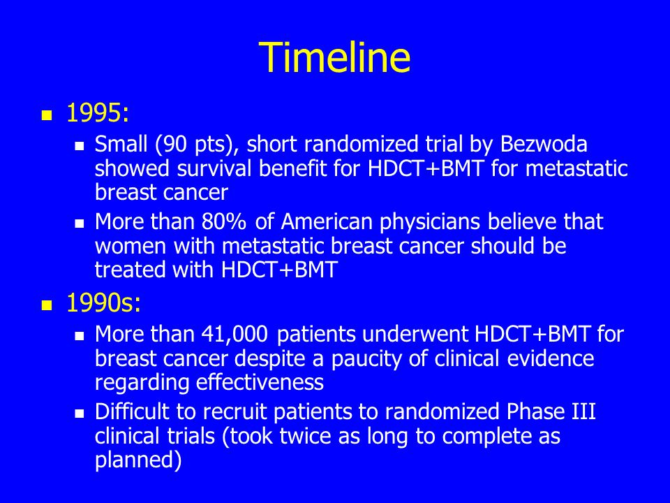 Timeline 1995: Small (90 pts), short randomized trial by Bezwoda showed survival benefit for HDCT+BMT for metastatic breast cancer More than 80% of American physicians believe that women with metastatic breast cancer should be treated with HDCT+BMT 1990s: More than 41,000 patients underwent HDCT+BMT for breast cancer despite a paucity of clinical evidence regarding effectiveness Difficult to recruit patients to randomized Phase III clinical trials (took twice as long to complete as planned)