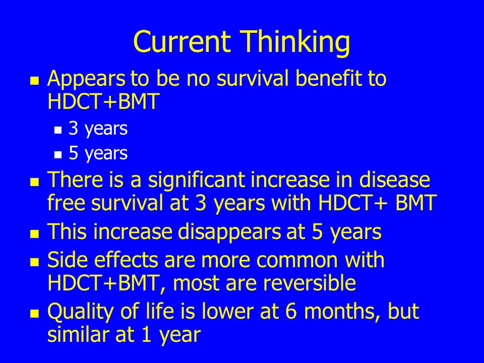 Current Thinking Appears to be no survival benefit to HDCT+BMT 3 years 5 years There is a significant increase in disease free survival at 3 years with HDCT+ BMT This increase disappears at 5 years Side effects are more common with HDCT+BMT, most are reversible Quality of life is lower at 6 months, but similar at 1 year