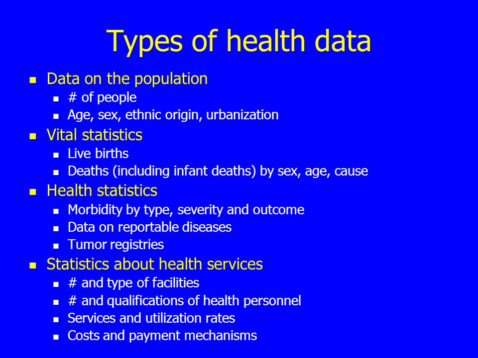 Types of health data Data on the population # of people Age, sex, ethnic origin, urbanization Vital statistics Live births Deaths (including infant deaths) by sex, age, cause Health statistics Morbidity by type, severity and outcome Data on reportable diseases Tumor registries Statistics about health services # and type of facilities # and qualifications of health personnel Services and utilization rates Costs and payment mechanisms