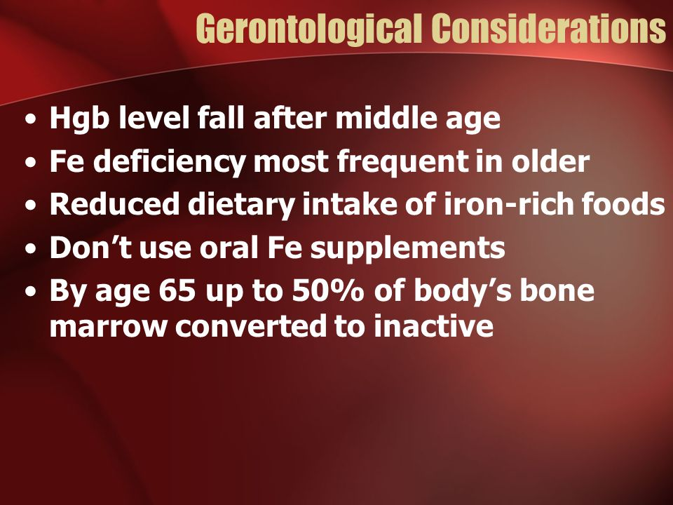Gerontological Considerations Hgb level fall after middle age Fe deficiency most frequent in older Reduced dietary intake of iron-rich foods Don't use oral Fe supplements By age 65 up to 50% of body's bone marrow converted to inactive
