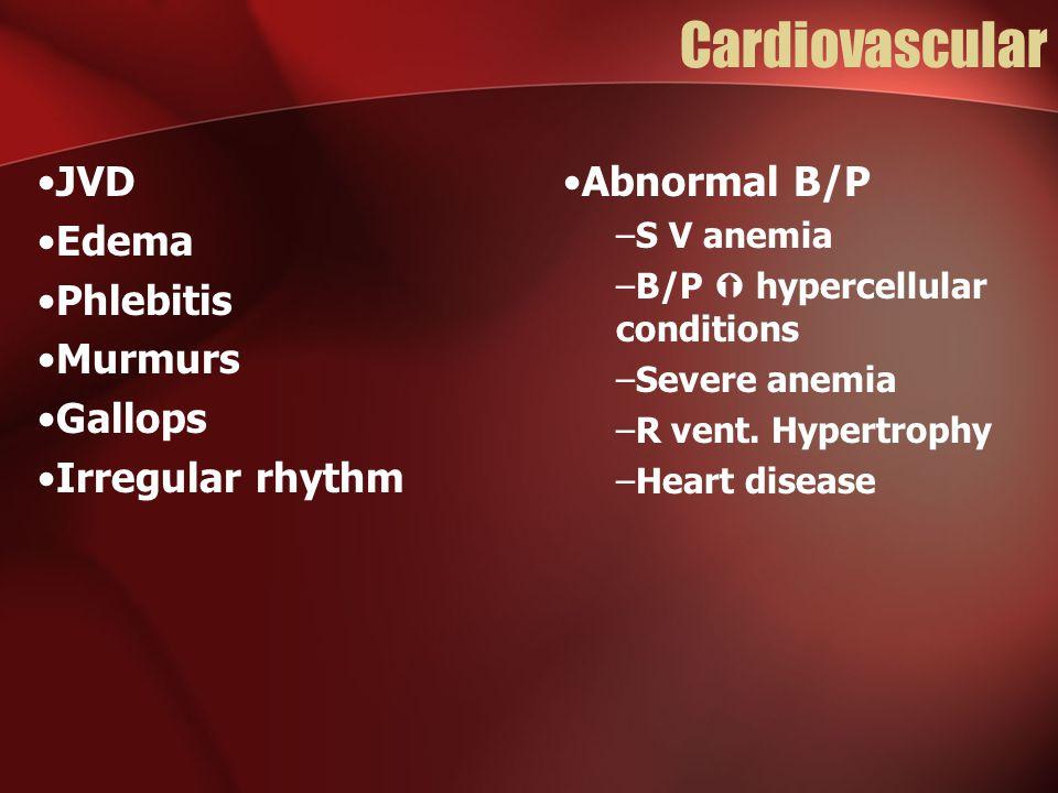 Cardiovascular JVD Edema Phlebitis Murmurs Gallops Irregular rhythm Abnormal B/P –S V anemia –B/P  hypercellular conditions –Severe anemia –R vent.