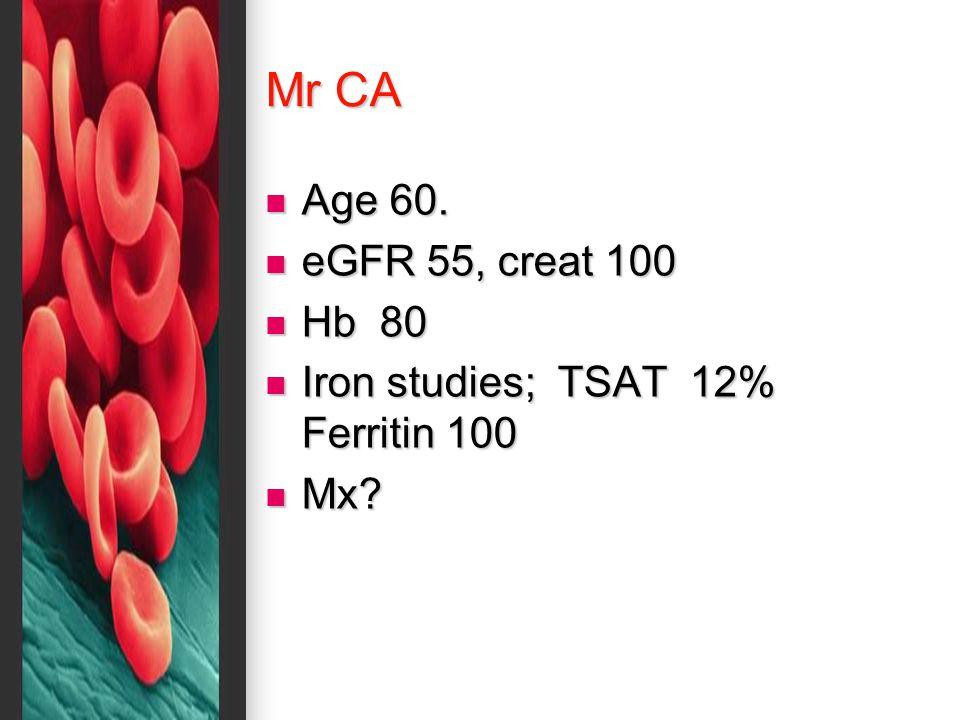Mr CA Age 60. Age 60. eGFR 55, creat 100 eGFR 55, creat 100 Hb 80 Hb 80 Iron studies; TSAT 12% Ferritin 100 Iron studies; TSAT 12% Ferritin 100 Mx? Mx
