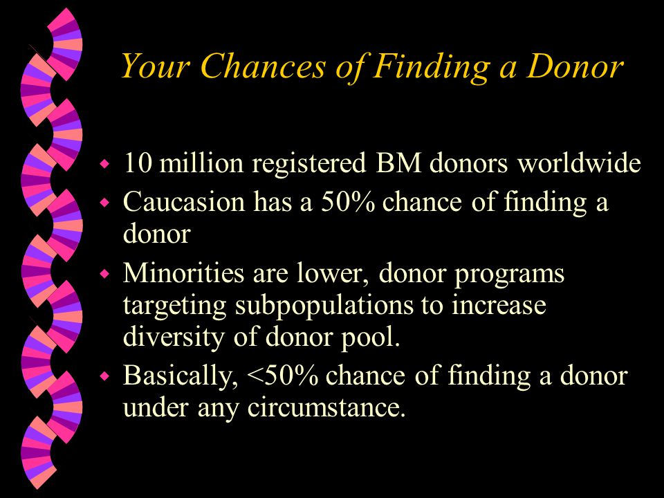 Your Chances of Finding a Donor w 10 million registered BM donors worldwide w Caucasion has a 50% chance of finding a donor w Minorities are lower, donor programs targeting subpopulations to increase diversity of donor pool.