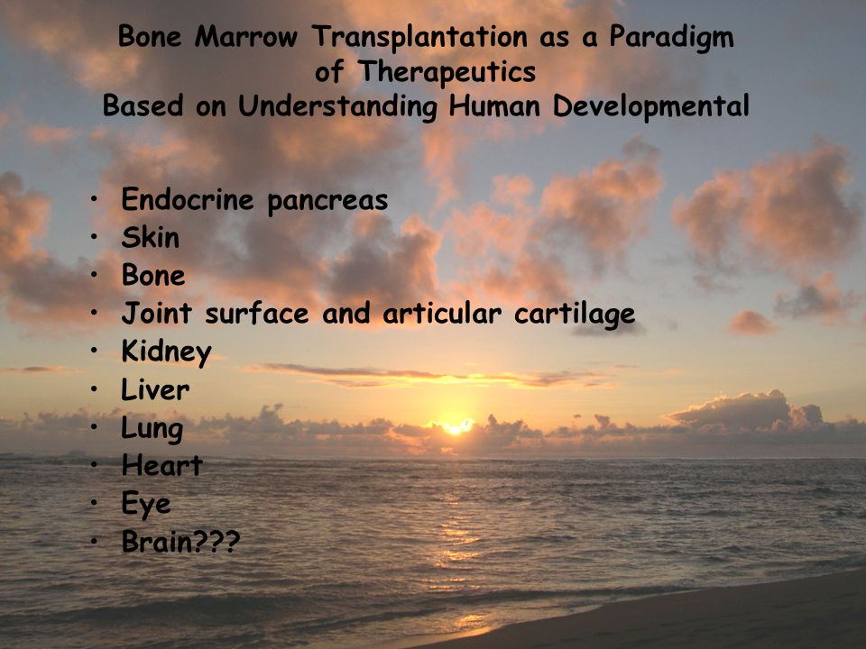 Bone Marrow Transplantation as a Paradigm of Therapeutics Based on Understanding Human Developmental Endocrine pancreas Skin Bone Joint surface and ar