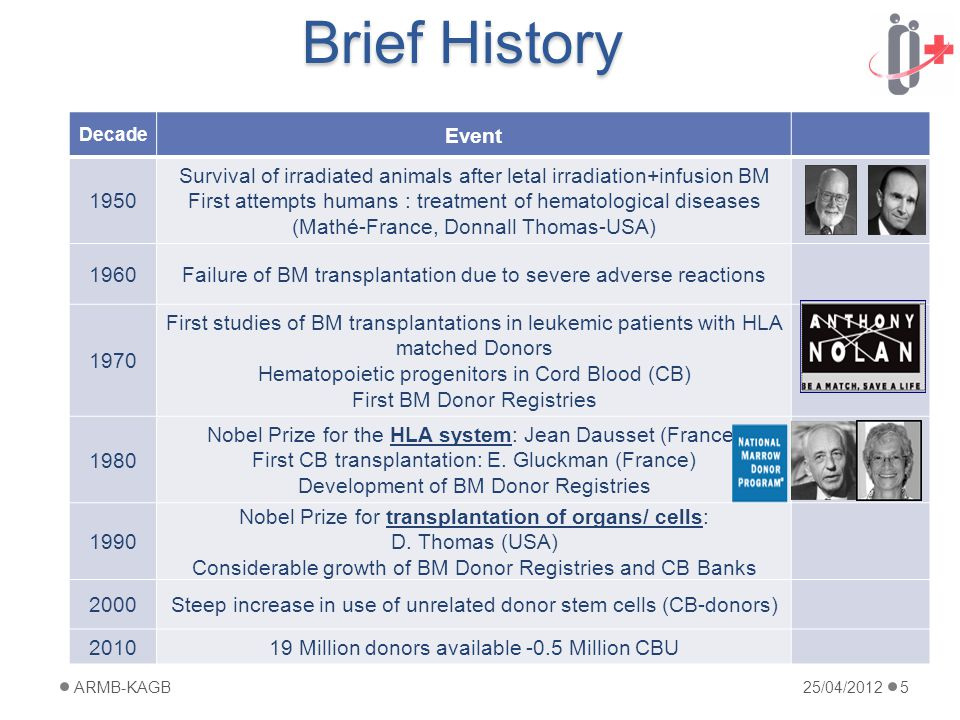 Brief History Decade Event 1950 Survival of irradiated animals after letal irradiation+infusion BM First attempts humans : treatment of hematological diseases (Mathé-France, Donnall Thomas-USA) 1960Failure of BM transplantation due to severe adverse reactions 1970 First studies of BM transplantations in leukemic patients with HLA matched Donors Hematopoietic progenitors in Cord Blood (CB) First BM Donor Registries 1980 Nobel Prize for the HLA system: Jean Dausset (France) First CB transplantation: E.