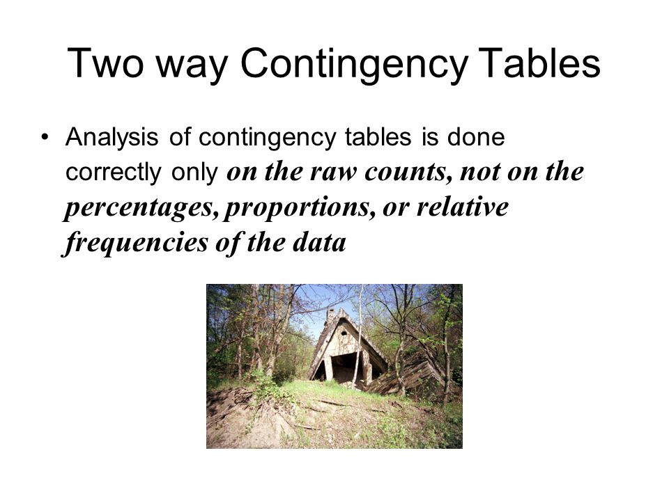 Two way Contingency Tables Analysis of contingency tables is done correctly only on the raw counts, not on the percentages, proportions, or relative frequencies of the data