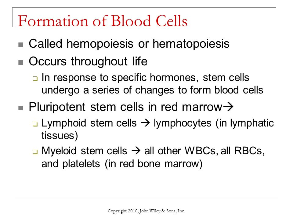 Copyright 2010, John Wiley & Sons, Inc. Formation of Blood Cells Called hemopoiesis or hematopoiesis Occurs throughout life  In response to specific