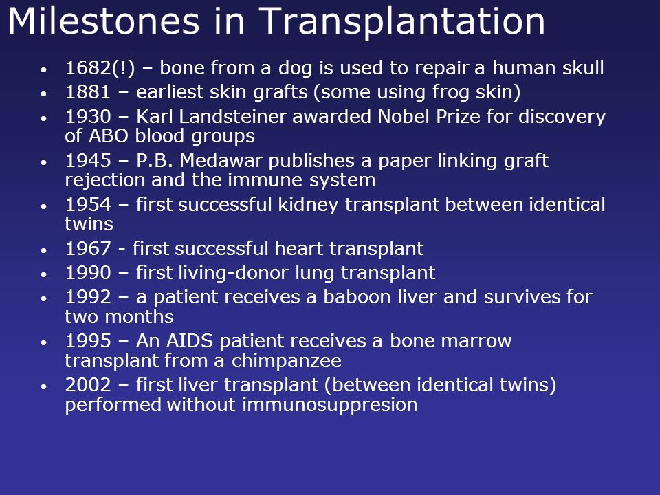 Milestones in Transplantation 1682(!) – bone from a dog is used to repair a human skull 1881 – earliest skin grafts (some using frog skin) 1930 – Karl Landsteiner awarded Nobel Prize for discovery of ABO blood groups 1945 – P.B.