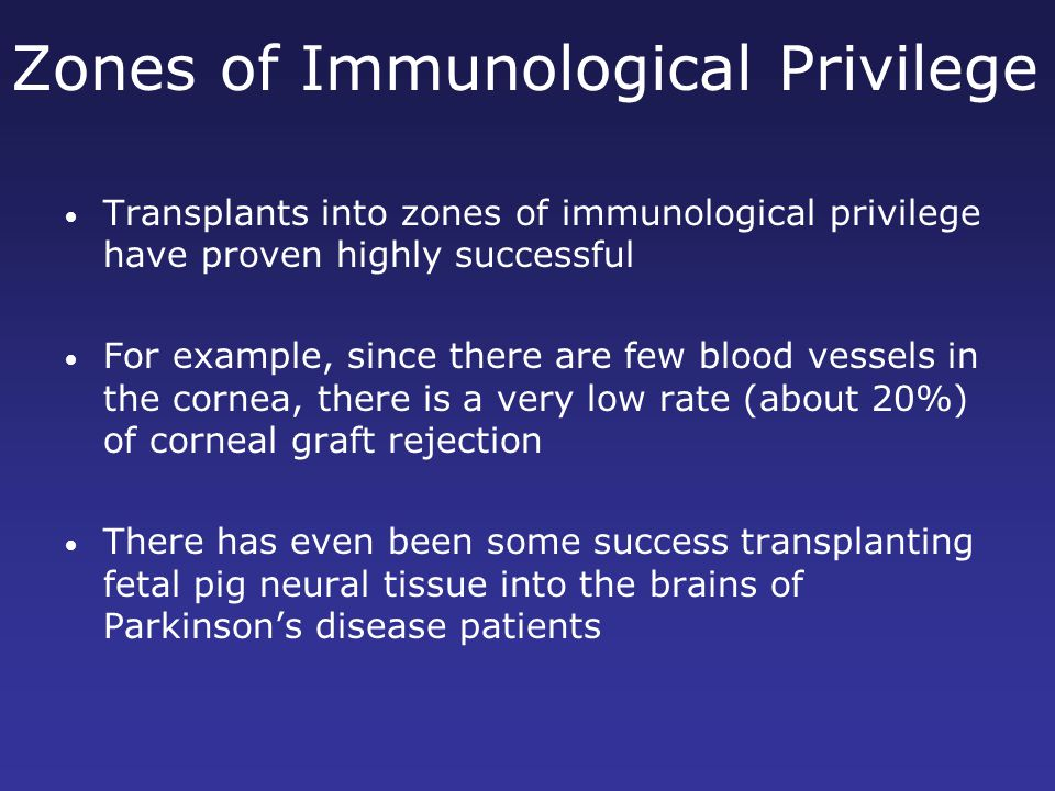 Zones of Immunological Privilege Transplants into zones of immunological privilege have proven highly successful For example, since there are few blood vessels in the cornea, there is a very low rate (about 20%) of corneal graft rejection There has even been some success transplanting fetal pig neural tissue into the brains of Parkinson's disease patients