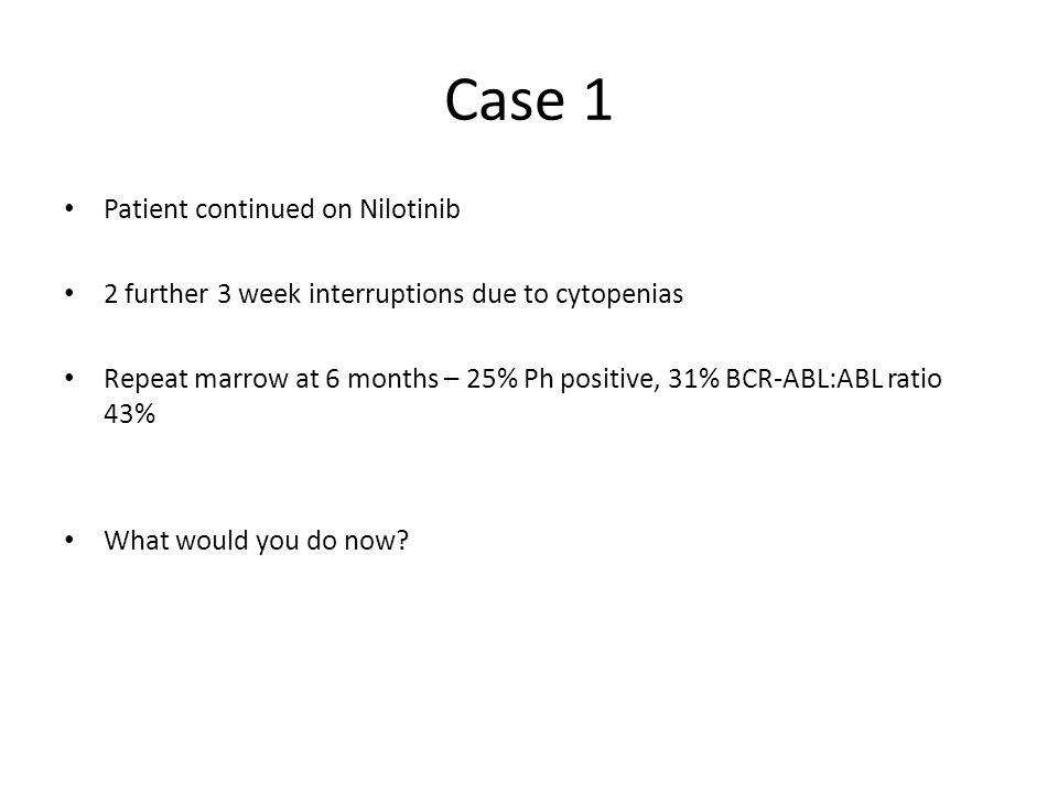 Case 1 Patient continued on Nilotinib 2 further 3 week interruptions due to cytopenias Repeat marrow at 6 months – 25% Ph positive, 31% BCR-ABL:ABL ra