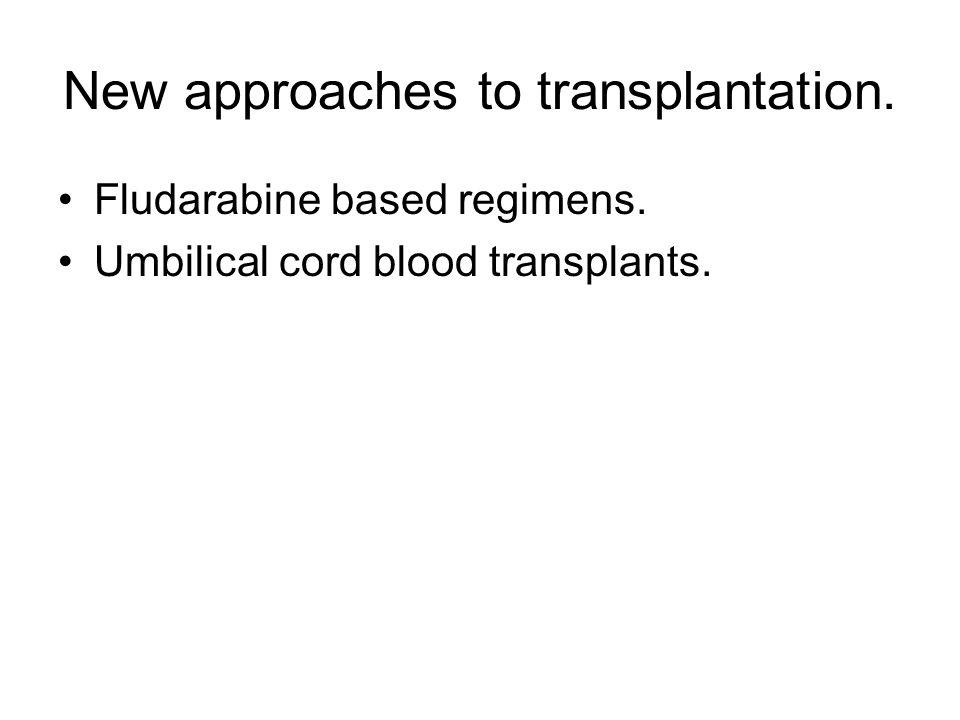 New approaches to transplantation. Fludarabine based regimens. Umbilical cord blood transplants.
