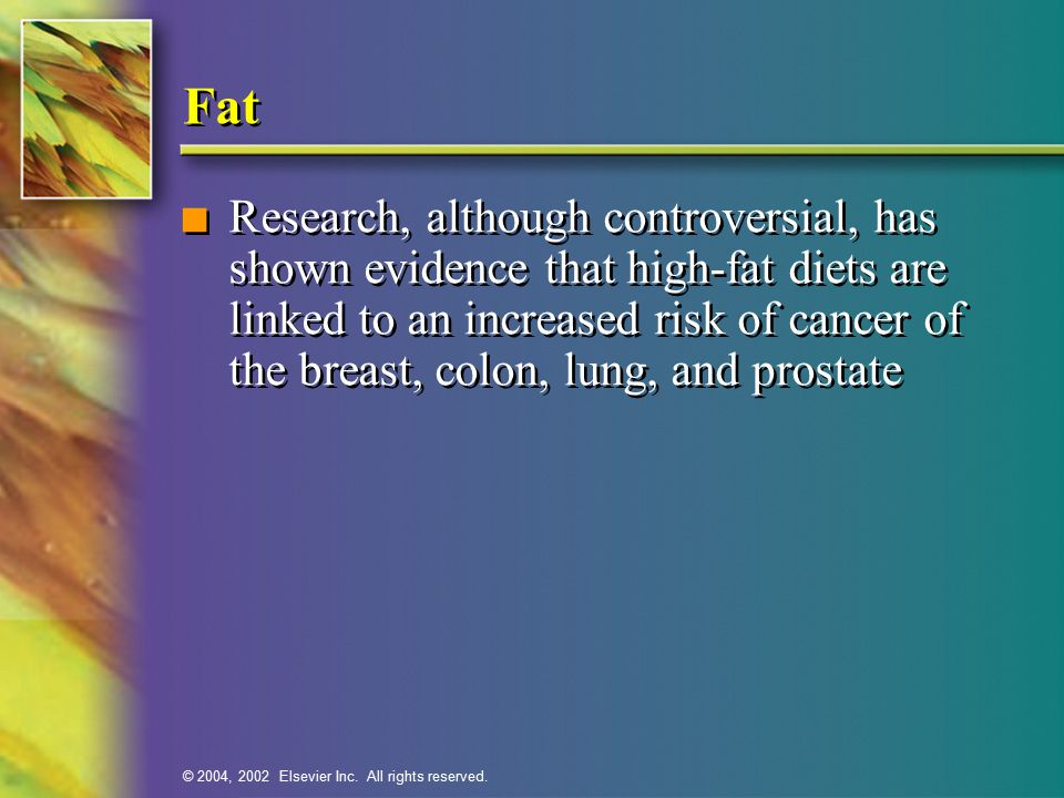 © 2004, 2002 Elsevier Inc. All rights reserved. Fat n Research, although controversial, has shown evidence that high-fat diets are linked to an increa