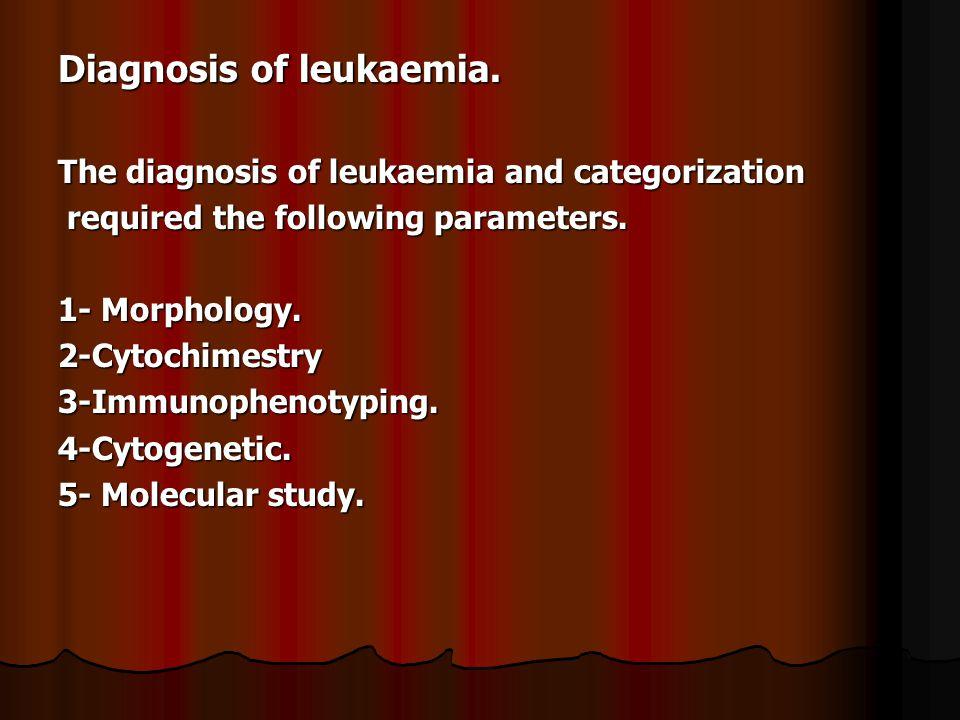 Diagnosis of leukaemia.