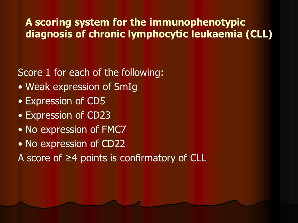 A scoring system for the immunophenotypic diagnosis of chronic lymphocytic leukaemia (CLL) Score 1 for each of the following: Weak expression of SmIg Expression of CD5 Expression of CD23 No expression of FMC7 No expression of CD22 A score of ≥4 points is confirmatory of CLL