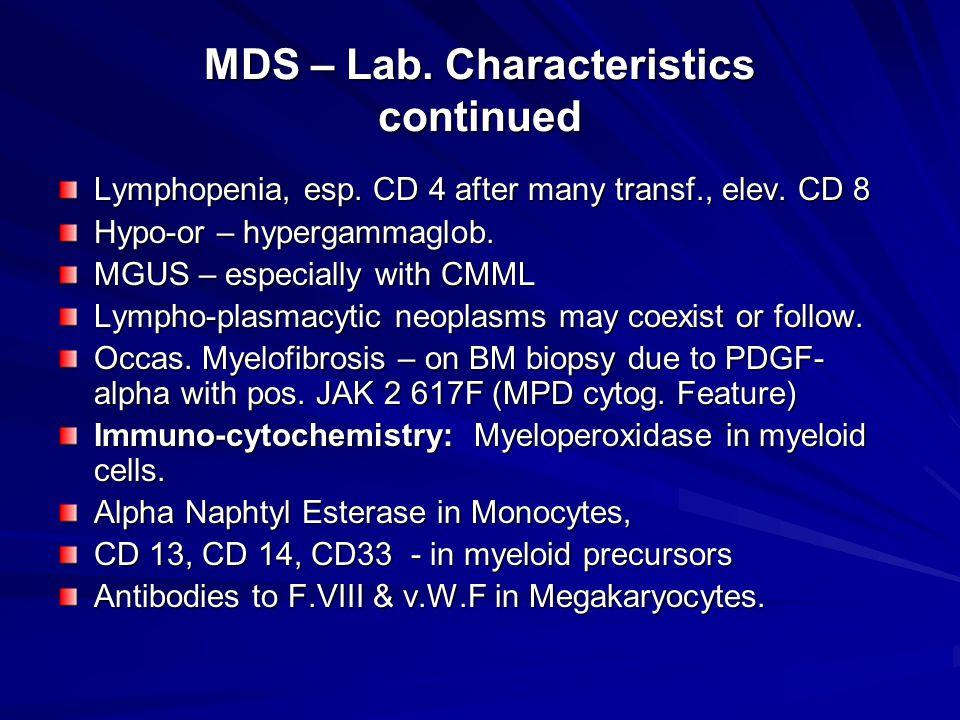 MDS – Lab. Characteristics continued Lymphopenia, esp.
