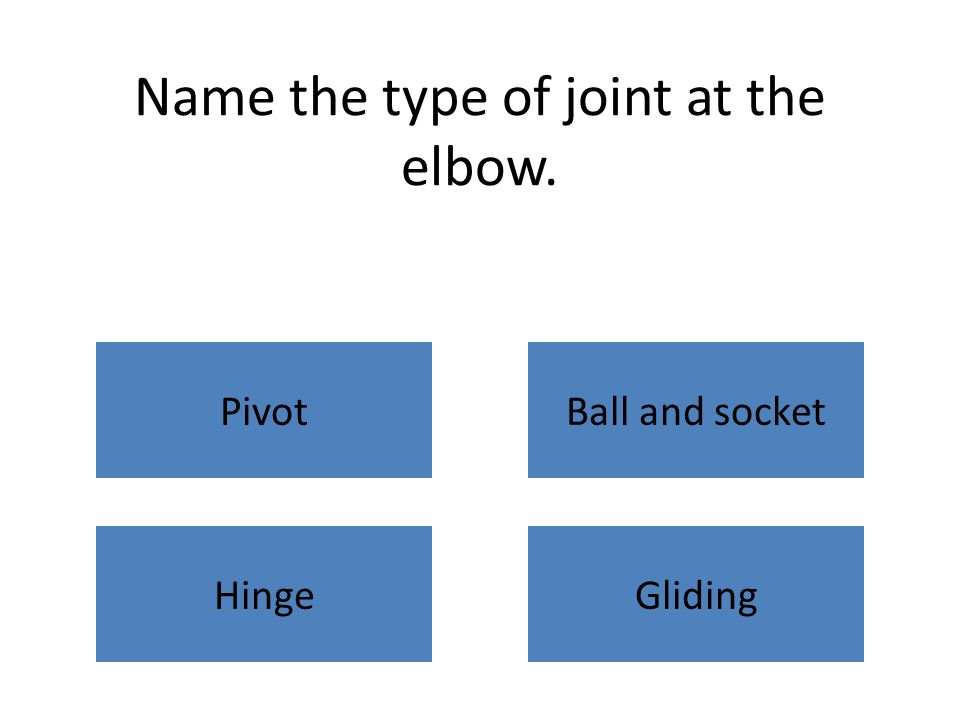 Name the type of joint at the elbow. PivotBall and socket HingeGliding