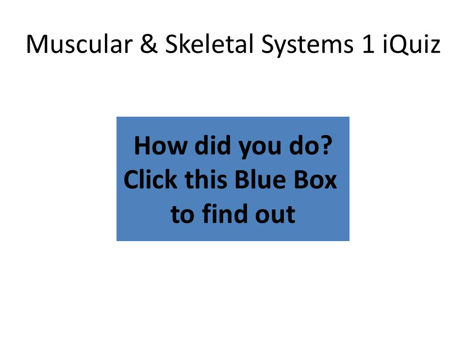 How did you do? Click this Blue Box to find out Muscular & Skeletal Systems 1 iQuiz
