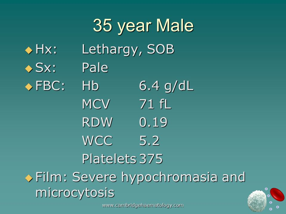 www.cambridgehaematology.com 35 year Male  Hx:Lethargy, SOB  Sx:Pale  FBC:Hb6.4 g/dL MCV 71 fL RDW0.19 WCC5.2 Platelets375  Film: Severe hypochromasia and microcytosis