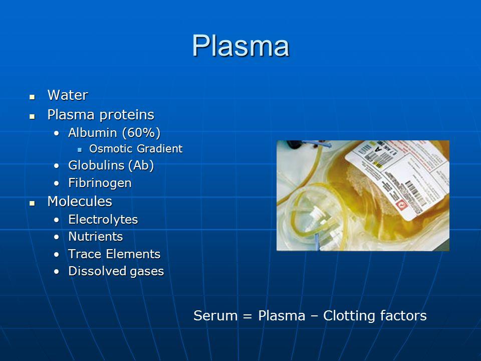 Plasma Water Water Plasma proteins Plasma proteins Albumin (60%)Albumin (60%) Osmotic Gradient Osmotic Gradient Globulins (Ab)Globulins (Ab) FibrinogenFibrinogen Molecules Molecules ElectrolytesElectrolytes NutrientsNutrients Trace ElementsTrace Elements Dissolved gasesDissolved gases Serum = Plasma – Clotting factors