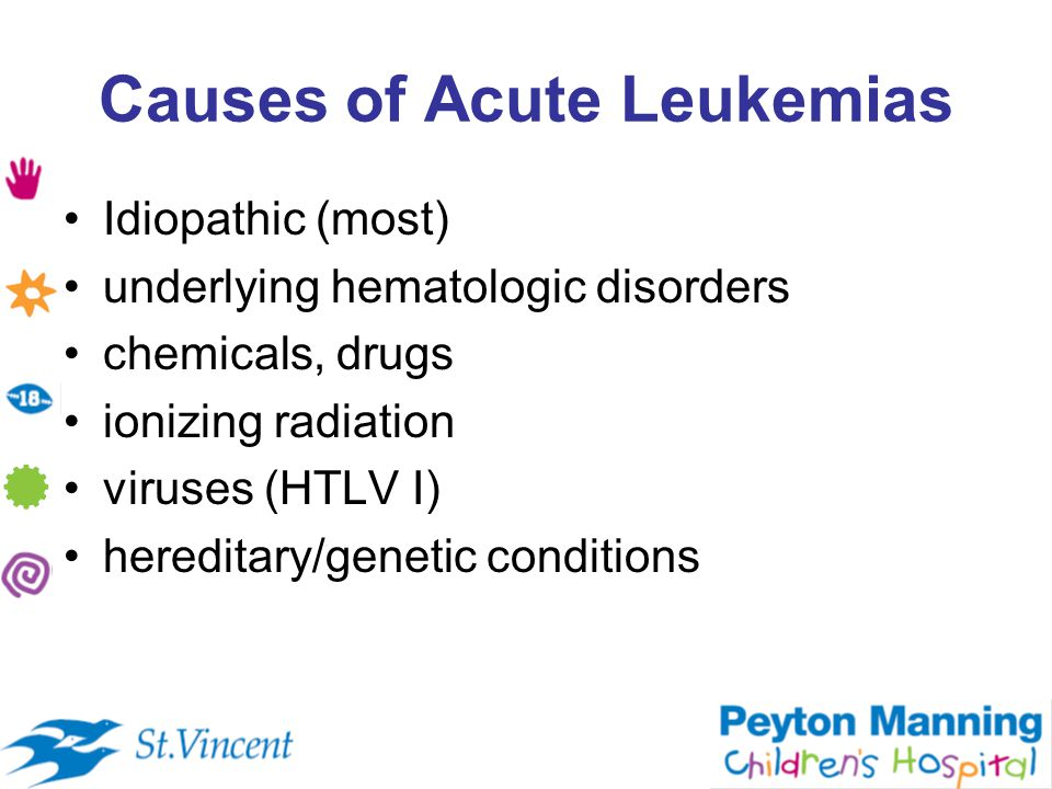 Causes of Acute Leukemias Idiopathic (most) underlying hematologic disorders chemicals, drugs ionizing radiation viruses (HTLV I) hereditary/genetic conditions