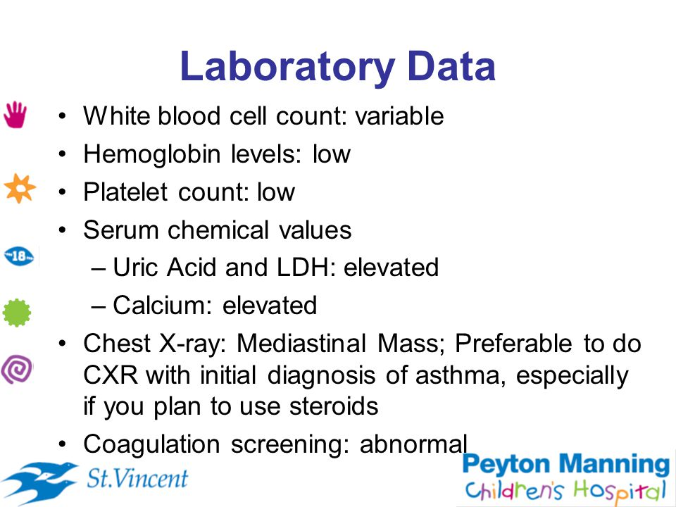 Laboratory Data White blood cell count: variable Hemoglobin levels: low Platelet count: low Serum chemical values –Uric Acid and LDH: elevated –Calcium: elevated Chest X-ray: Mediastinal Mass; Preferable to do CXR with initial diagnosis of asthma, especially if you plan to use steroids Coagulation screening: abnormal