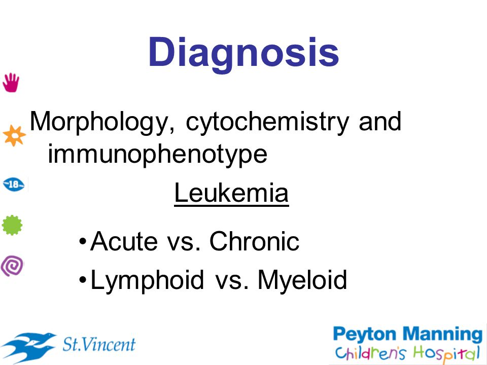 Diagnosis Morphology, cytochemistry and immunophenotype Leukemia Acute vs.
