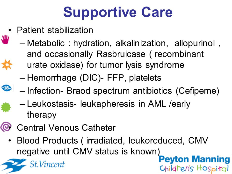 Supportive Care Patient stabilization –Metabolic : hydration, alkalinization, allopurinol, and occasionally Rasbruicase ( recombinant urate oxidase) for tumor lysis syndrome –Hemorrhage (DIC)- FFP, platelets –Infection- Braod spectrum antibiotics (Cefipeme) –Leukostasis- leukapheresis in AML /early therapy Central Venous Catheter Blood Products ( irradiated, leukoreduced, CMV negative until CMV status is known)
