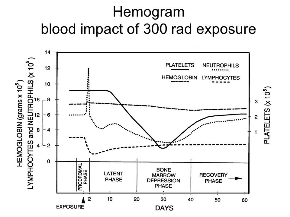 Hemogram blood impact of 300 rad exposure