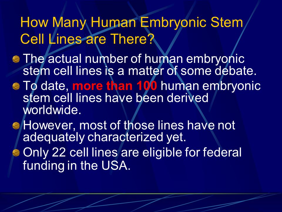 How Many Human Embryonic Stem Cell Lines are There? The actual number of human embryonic stem cell lines is a matter of some debate. To date, more tha