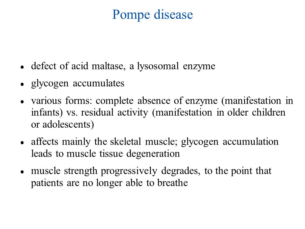 Pompe disease ● defect of acid maltase, a lysosomal enzyme ● glycogen accumulates ● various forms: complete absence of enzyme (manifestation in infants) vs.