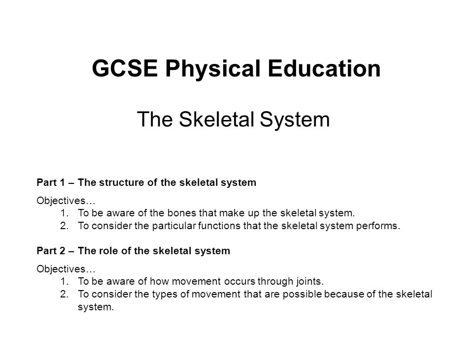 GCSE Physical Education The Skeletal System Part 1 – The structure of the skeletal system Objectives… 1.To be aware of the bones that make up the skel