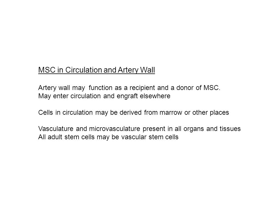 MSC in Circulation and Artery Wall Artery wall may function as a recipient and a donor of MSC.