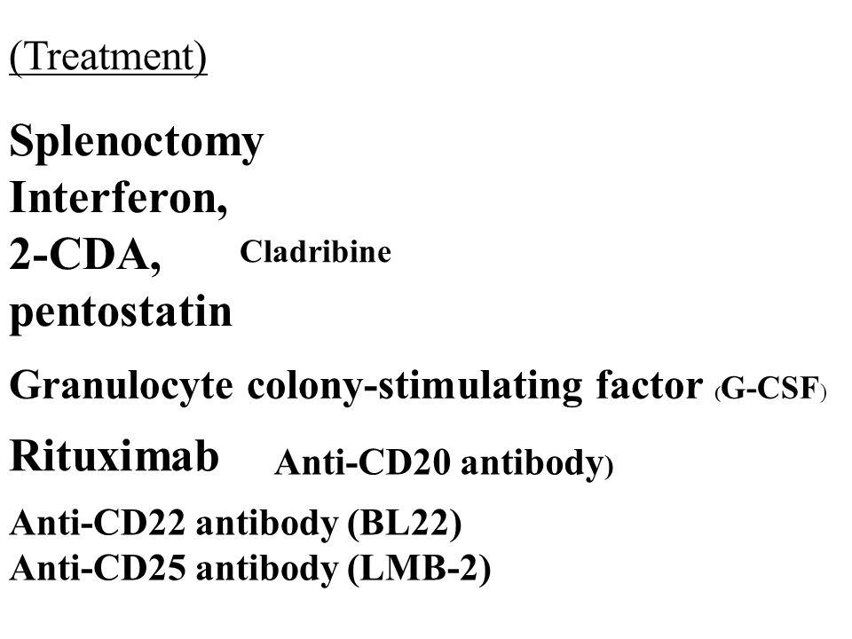 Splenoctomy Interferon, 2-CDA, pentostatin Granulocyte colony-stimulating factor ( G-CSF ) Rituximab Cladribine Anti-CD22 antibody (BL22) Anti-CD25 antibody (LMB-2) Anti-CD20 antibody ) (Treatment)