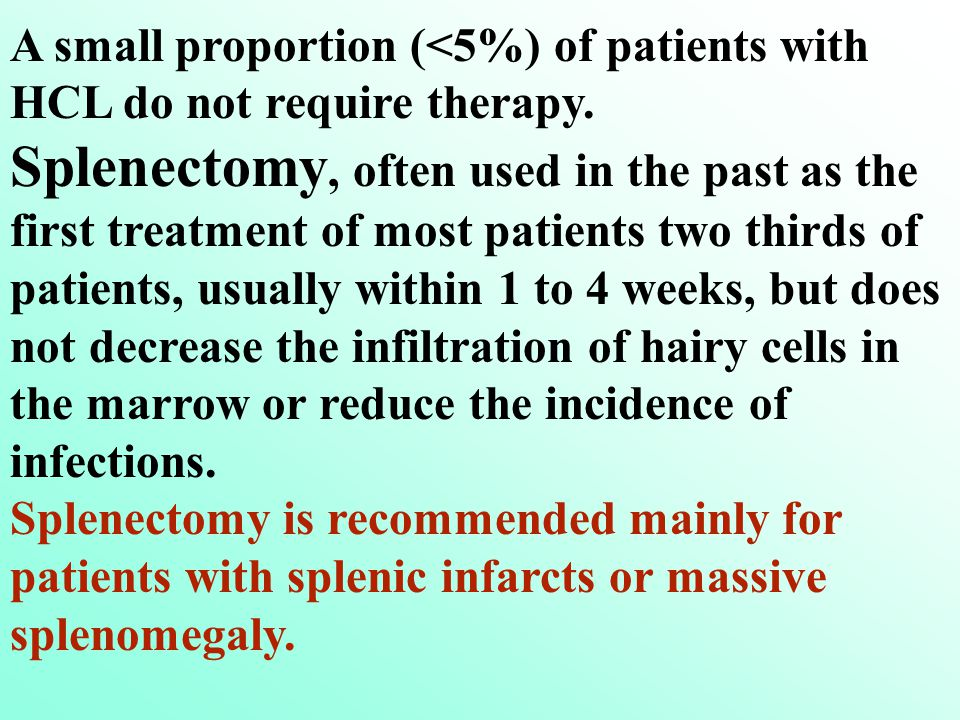 Treatment A small proportion (<5%) of patients with HCL do not require therapy. Splenectomy, often used in the past as the first treatment of most pat