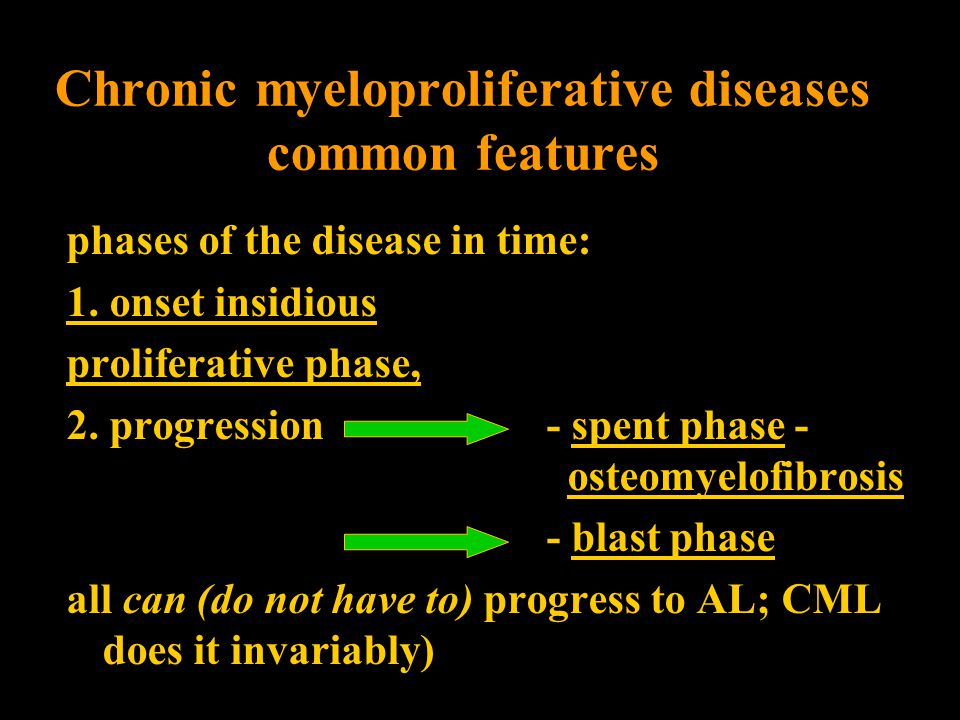 phases of the disease in time: 1.onset insidious proliferative phase, 2.