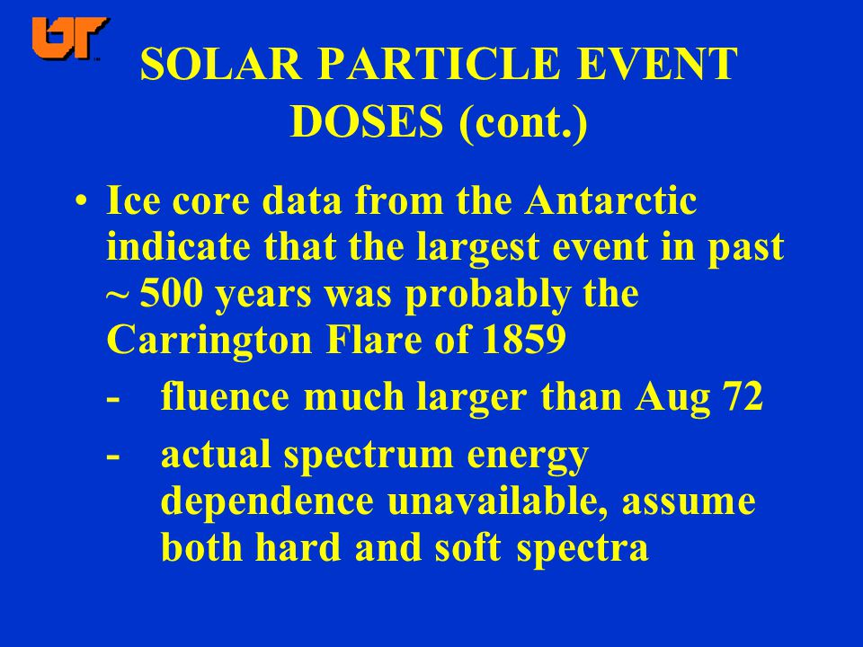 SOLAR PARTICLE EVENT DOSES (cont.) Ice core data from the Antarctic indicate that the largest event in past ~ 500 years was probably the Carrington Flare of 1859 -fluence much larger than Aug 72 -actual spectrum energy dependence unavailable, assume both hard and soft spectra