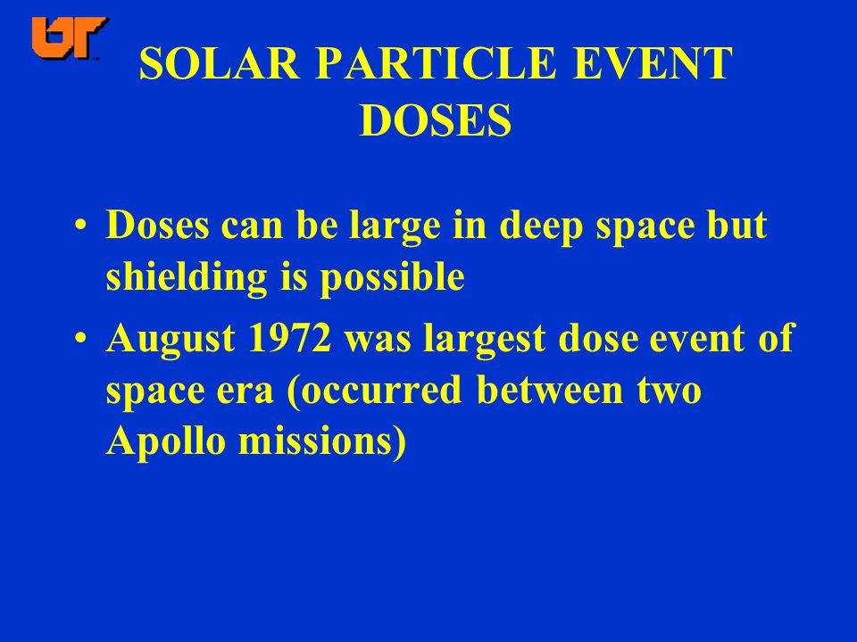 SOLAR PARTICLE EVENT DOSES Doses can be large in deep space but shielding is possible August 1972 was largest dose event of space era (occurred between two Apollo missions)