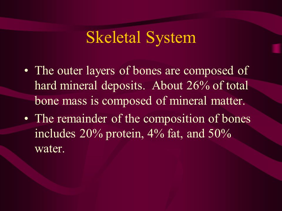 Skeletal System About 85% of the mineral matter is calcium phosphate.
