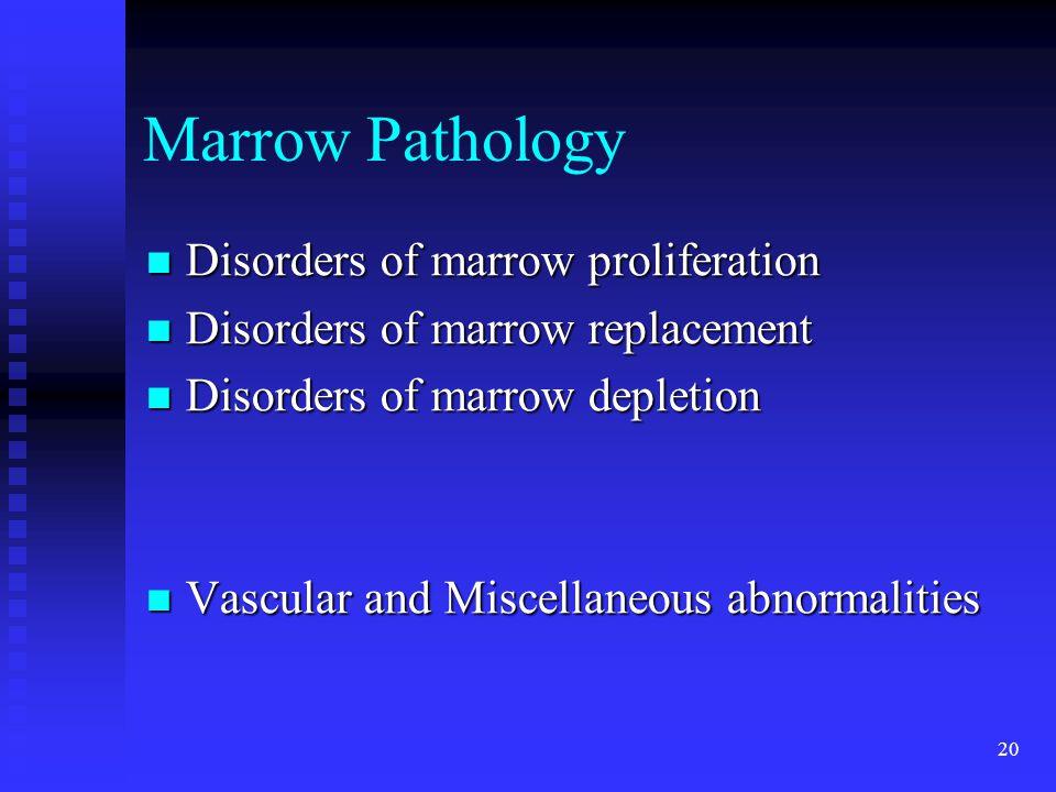 20 Marrow Pathology Disorders of marrow proliferation Disorders of marrow proliferation Disorders of marrow replacement Disorders of marrow replacemen