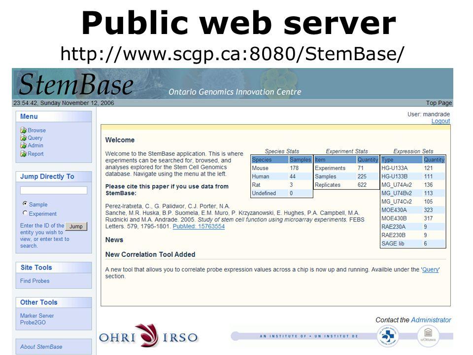 Public web server http://www.scgp.ca:8080/StemBase/