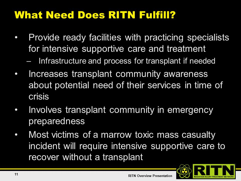 RITN Overview Presentation 11 What Need Does RITN Fulfill.