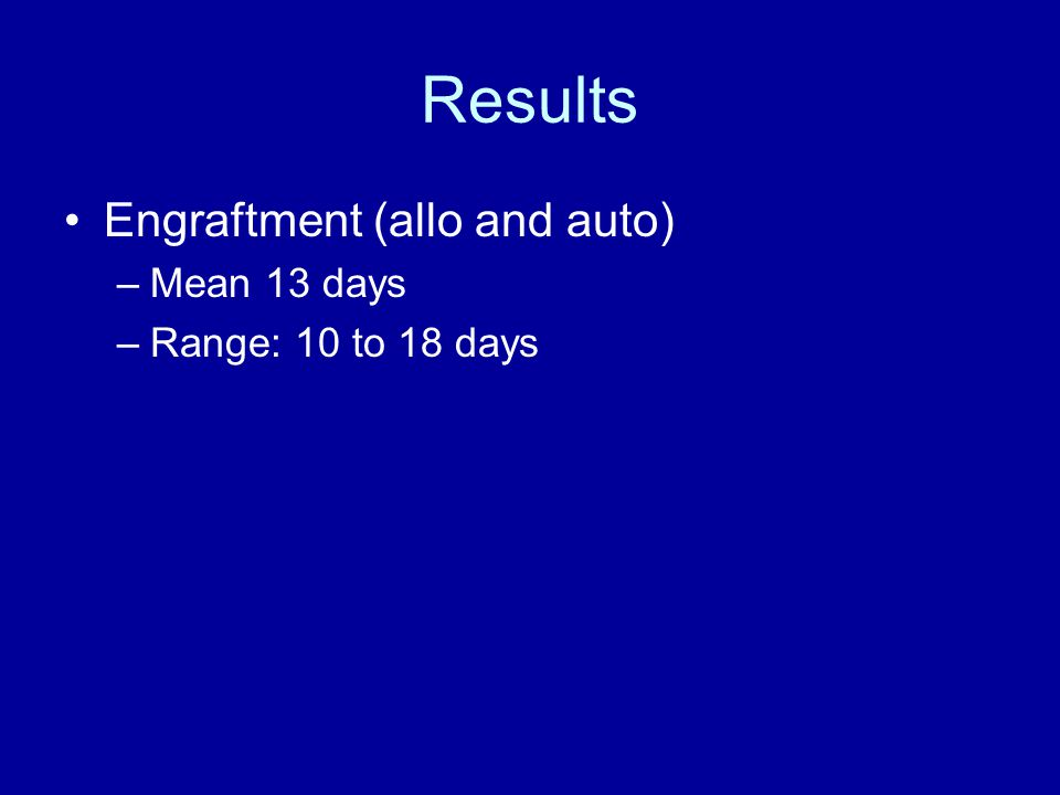 Results Engraftment (allo and auto) –Mean 13 days –Range: 10 to 18 days